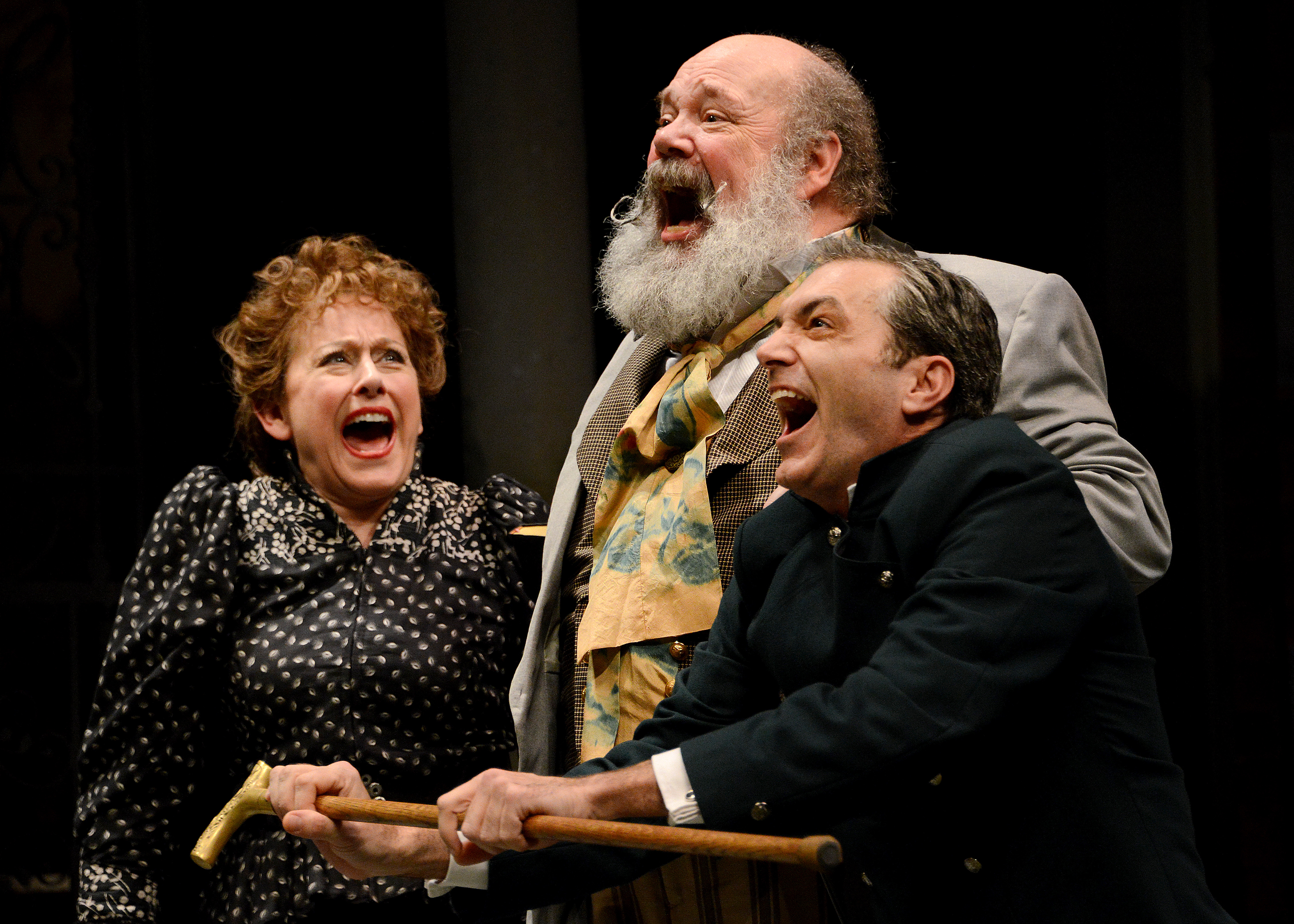Maria, Sir Toby, and Fabian (Helena Ruoti, John Ahlin, Tony Bingham) can't believe how silly things get, and they are expert practitioners themselves.