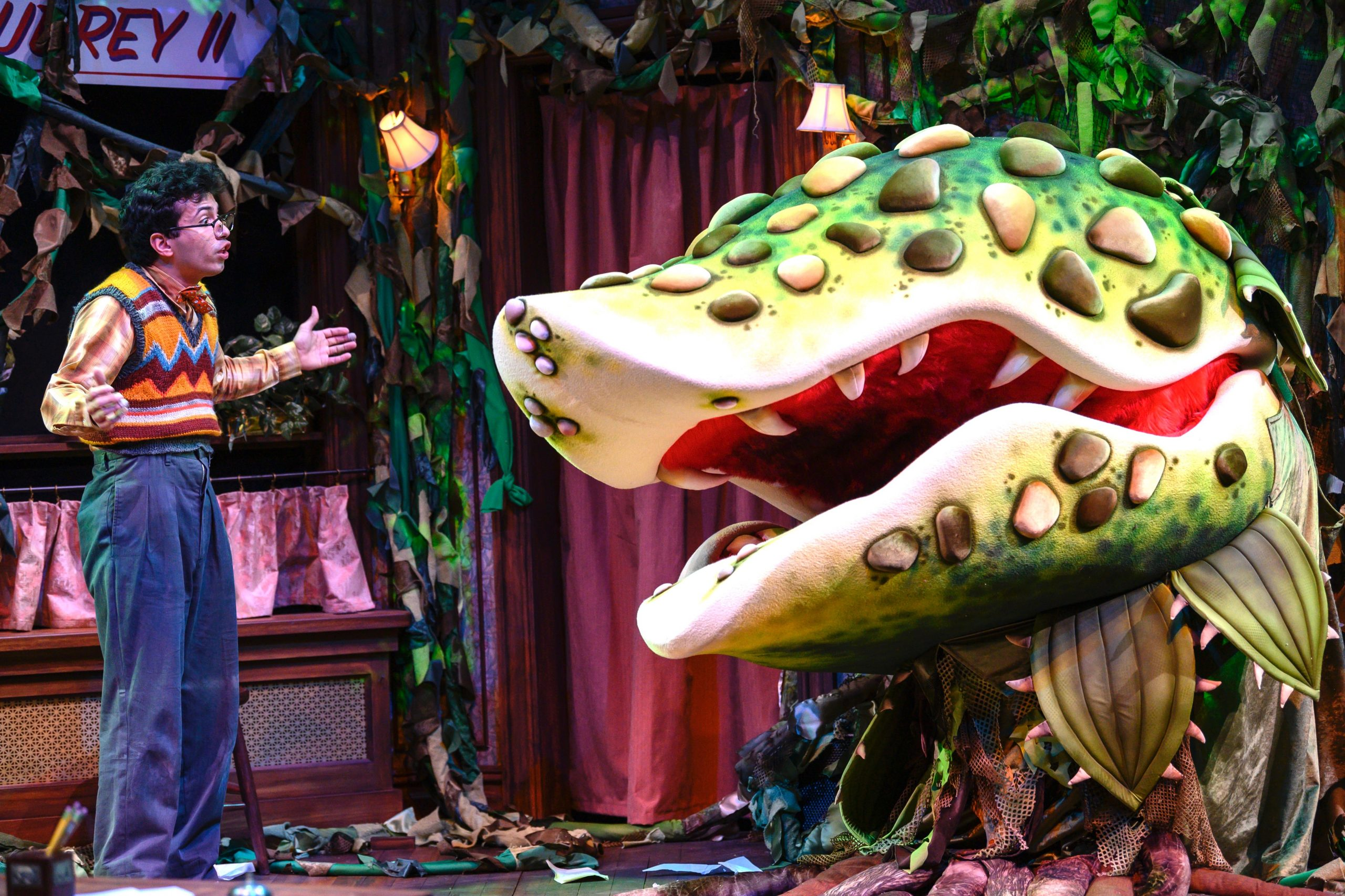 Seymour (Philippe Arroyo) tries to reason with that which is unreasonable in 'Little Shop of Horrors' at The Public. (photo: Michael Henninger)
