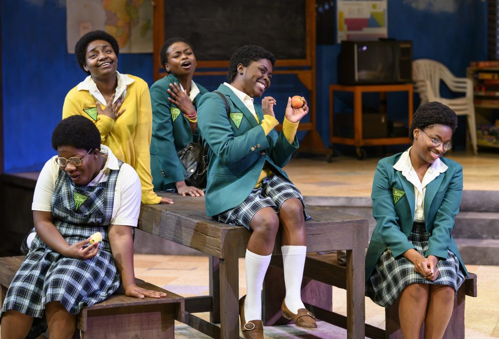 (l to r.) Atiauna Grant, Shakara Wright, Candace Boahene, Markia Nicole Smith, and Ezioma Asonye are Ghanaian school girls in The Public's 'School Girls; or the African Mean Girls Play.' (photo: Michael Henninger)