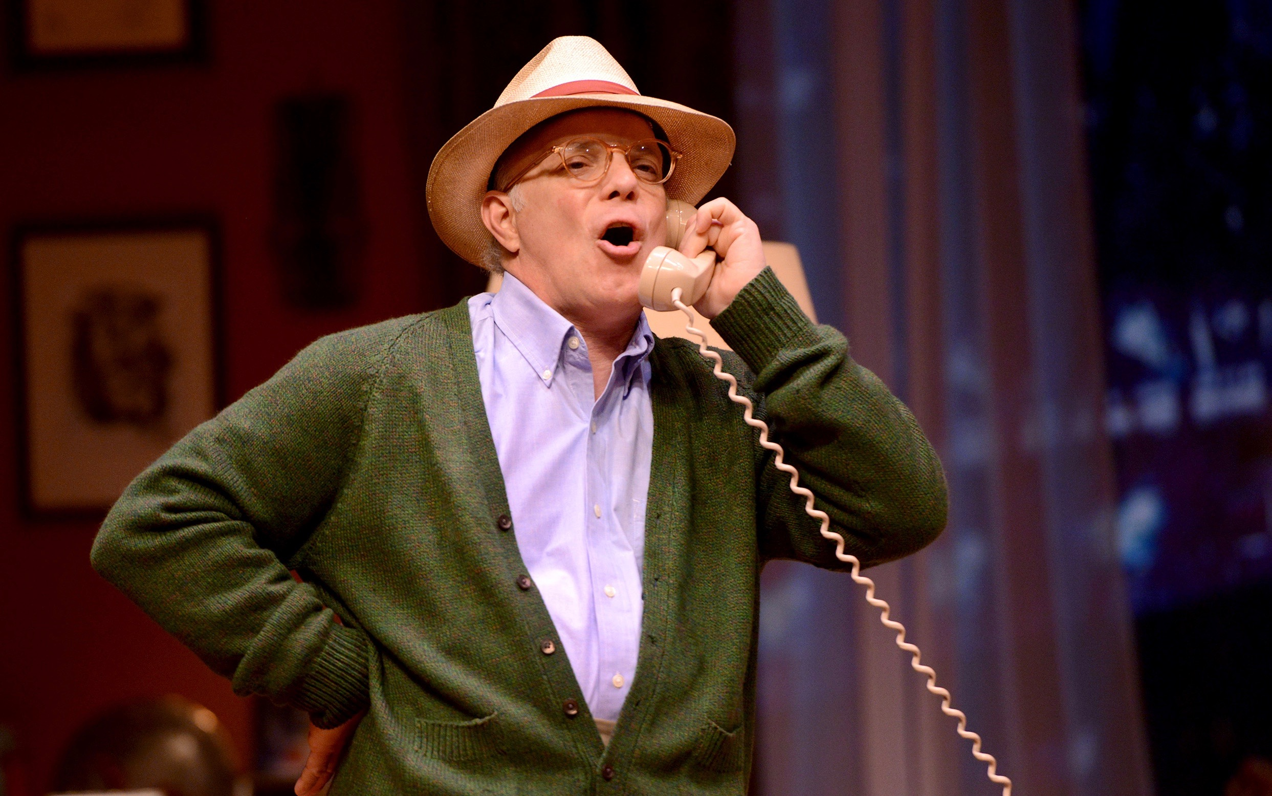 """He's not ordering pizza; he's going bananas. Eddie Korbich plays an off-the-deep-end Truman Capote in """"TRU"""" at The Public."""