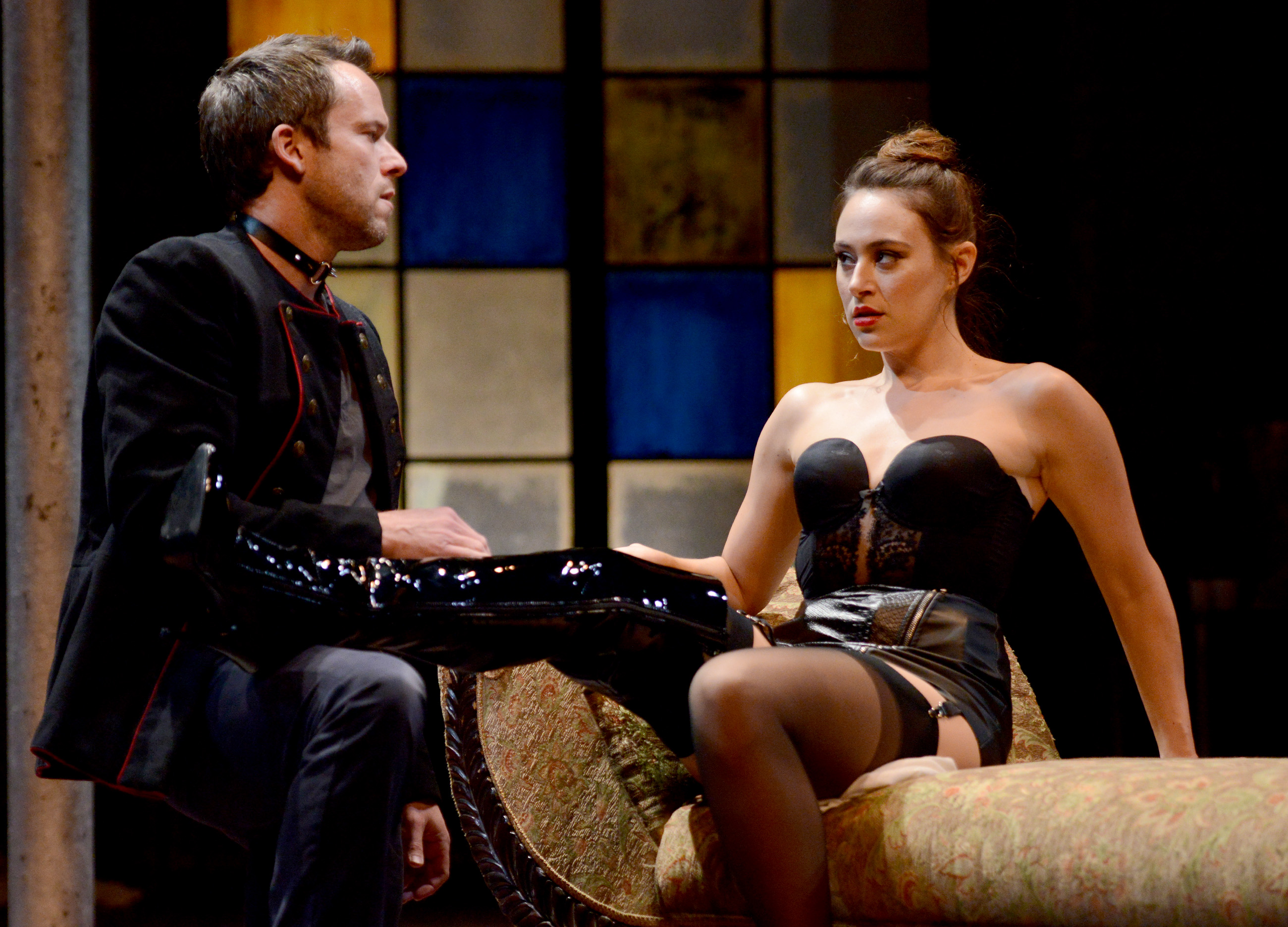 If the shoe fits, fear it. Vanda (Whitney Maris Brown) aspires to play the dominatrix in shiny boots of leather, with Thomas (Christian Conn) as her footman.