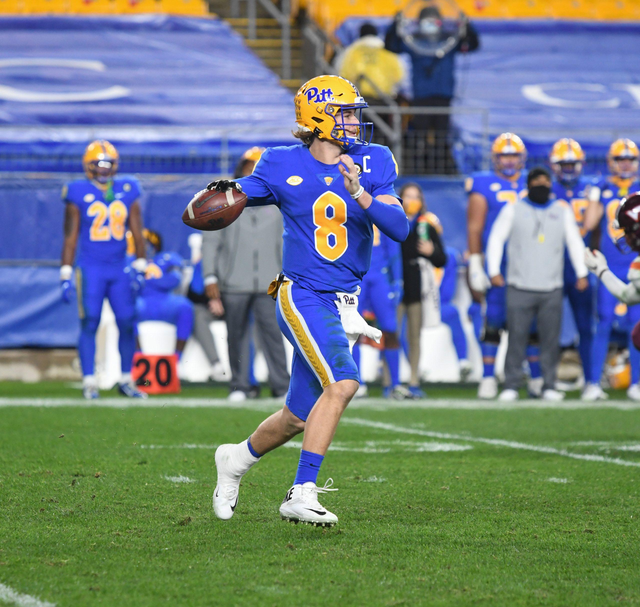 Pitt quarterback Kenny Pickett in action against Virginia Tech in 2020. (photo: Pitt Athletics)