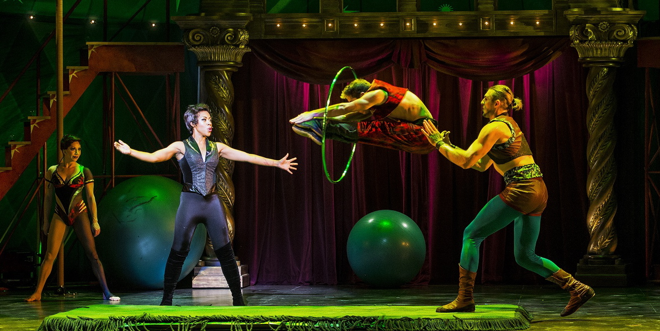 "Sasha Allen (arms spread) is the Leading Player in the hooped-up new production of ""Pippin."""