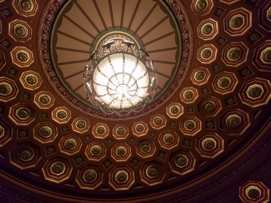 The ceiling chandelier of the Benedum Center.