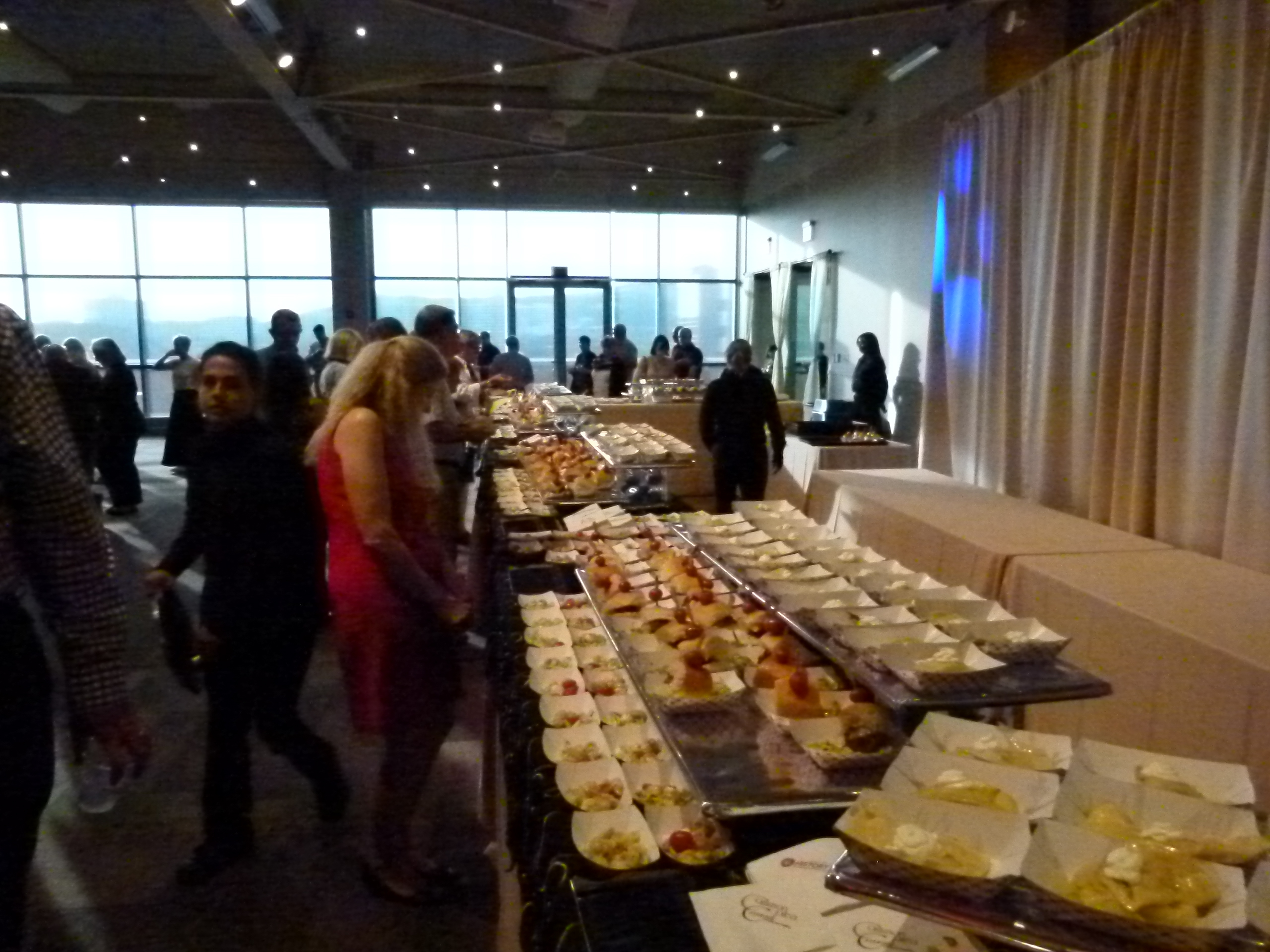 The buffet ran almost the entire length of the room.