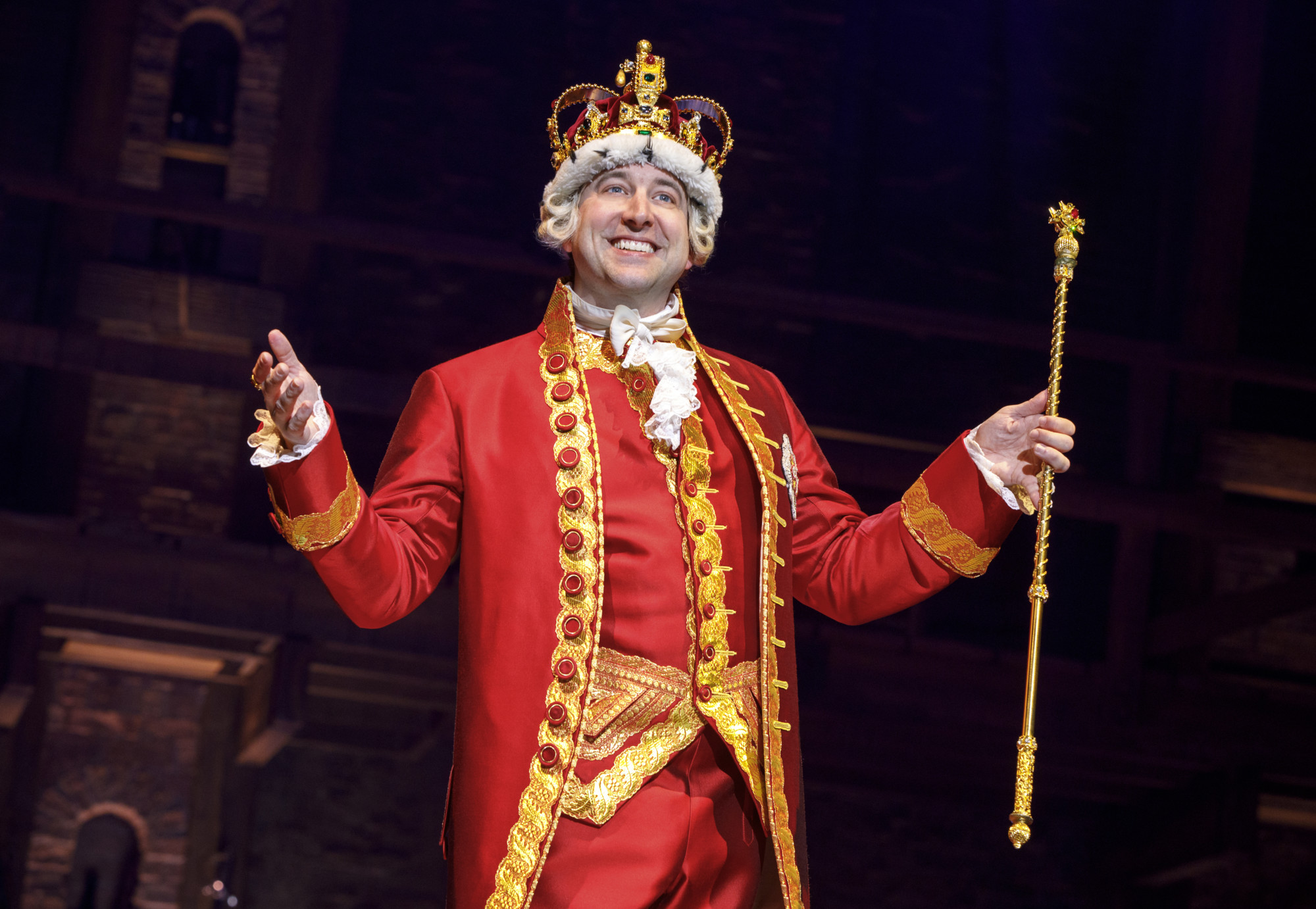 In 'Hamilton,' England's King George loses the war but has a great song—'You'll Be Back,' his deranged love song to the American colonies—and that's Pittsburgh native Peter Matthew Smith playing the King on the tour that visits us. (photo © Joan Marcus)
