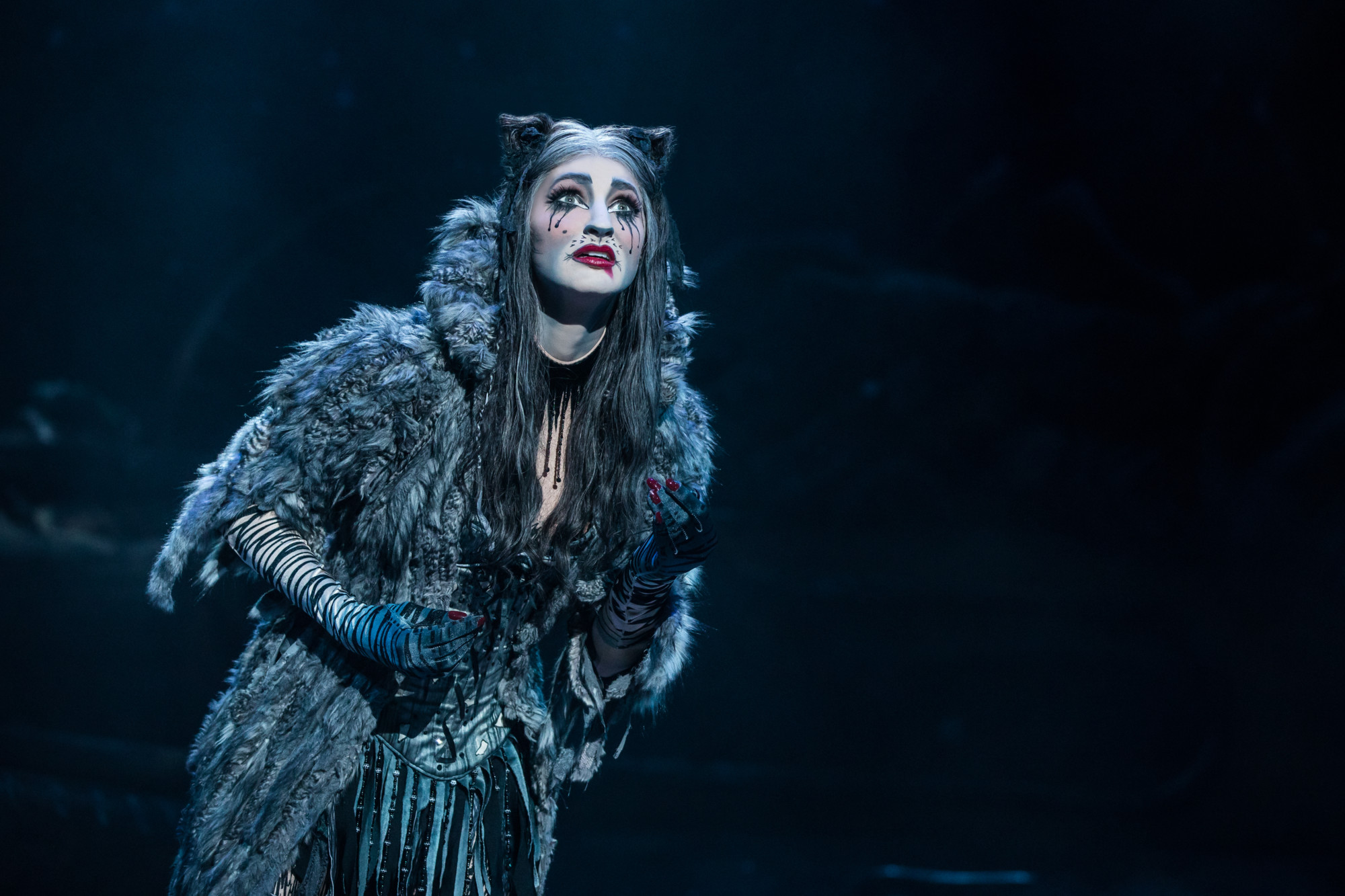 If you've had them, you know that cats can be very guilt-inducing when they desire attention, as Grizabella does here in 'Cats.' (photo: Matthew Murphy)