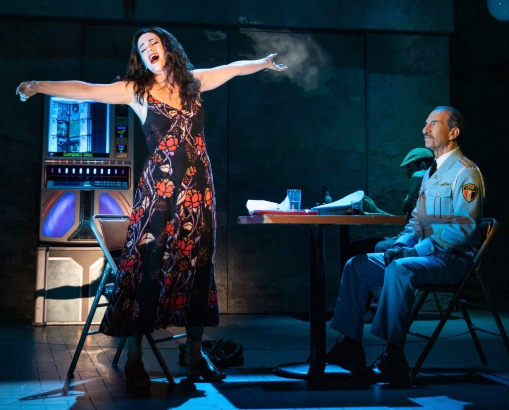 The touring production of 'The Band's Visit' has star power in the co-leads. Here, Broadway luminary Chilina Kennedy expounds to Sasson Gabay, who starred in the film on which the musical is based. 'The Band's Visit' is one of many powerful shows in Pittsburgh this month. (photo: Matthew Murphy)