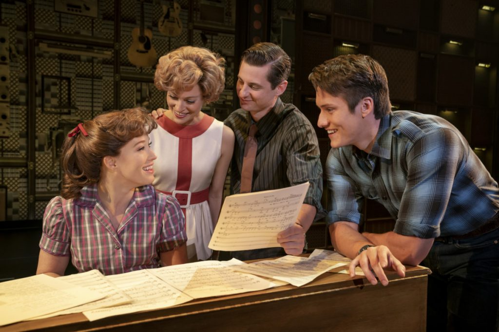 Great things happen when you gather around the piano in 'Beautiful: The Carole King Musical.' (photo: Joan Marcus)