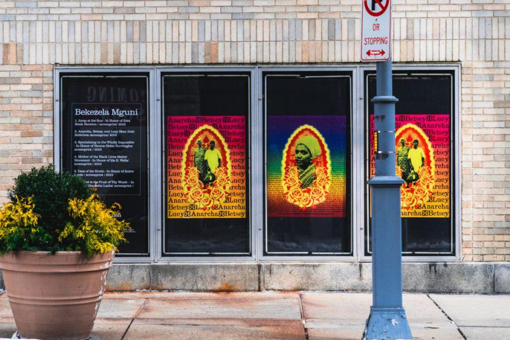 Bekezela Mguni's poster art can be seen along Penn Avenue.