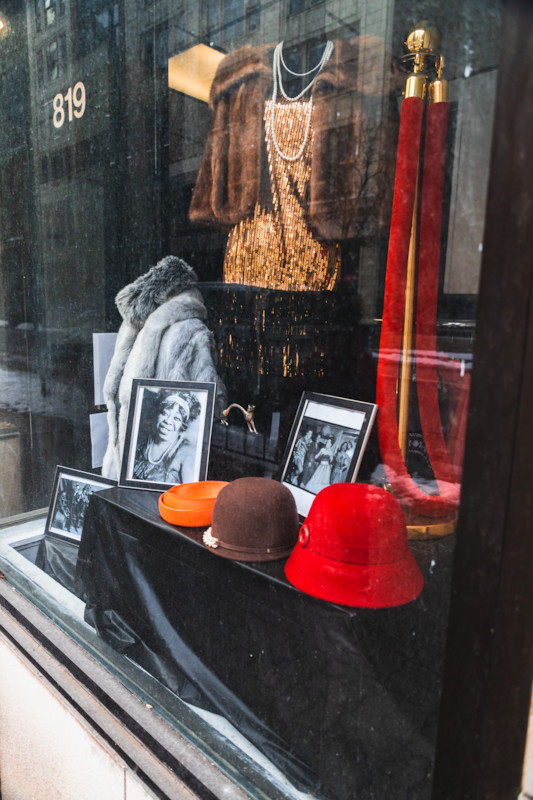 Fashion exhibits, including this one featuring Ma Rainey, can also be viewed on the walking tour.