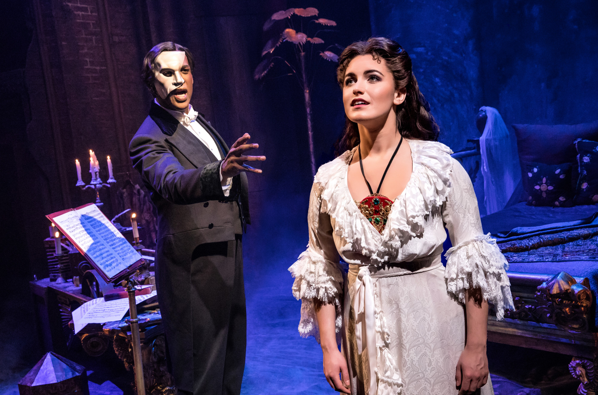 Eva Tavares is Christine and Quentin Oliver Lee is you-know-who in the new touring production of 'The Phantom of the Opera,' one of a multitude of multifarious shows on Pittsburgh stages in February. (photo: Matthew Murphy)