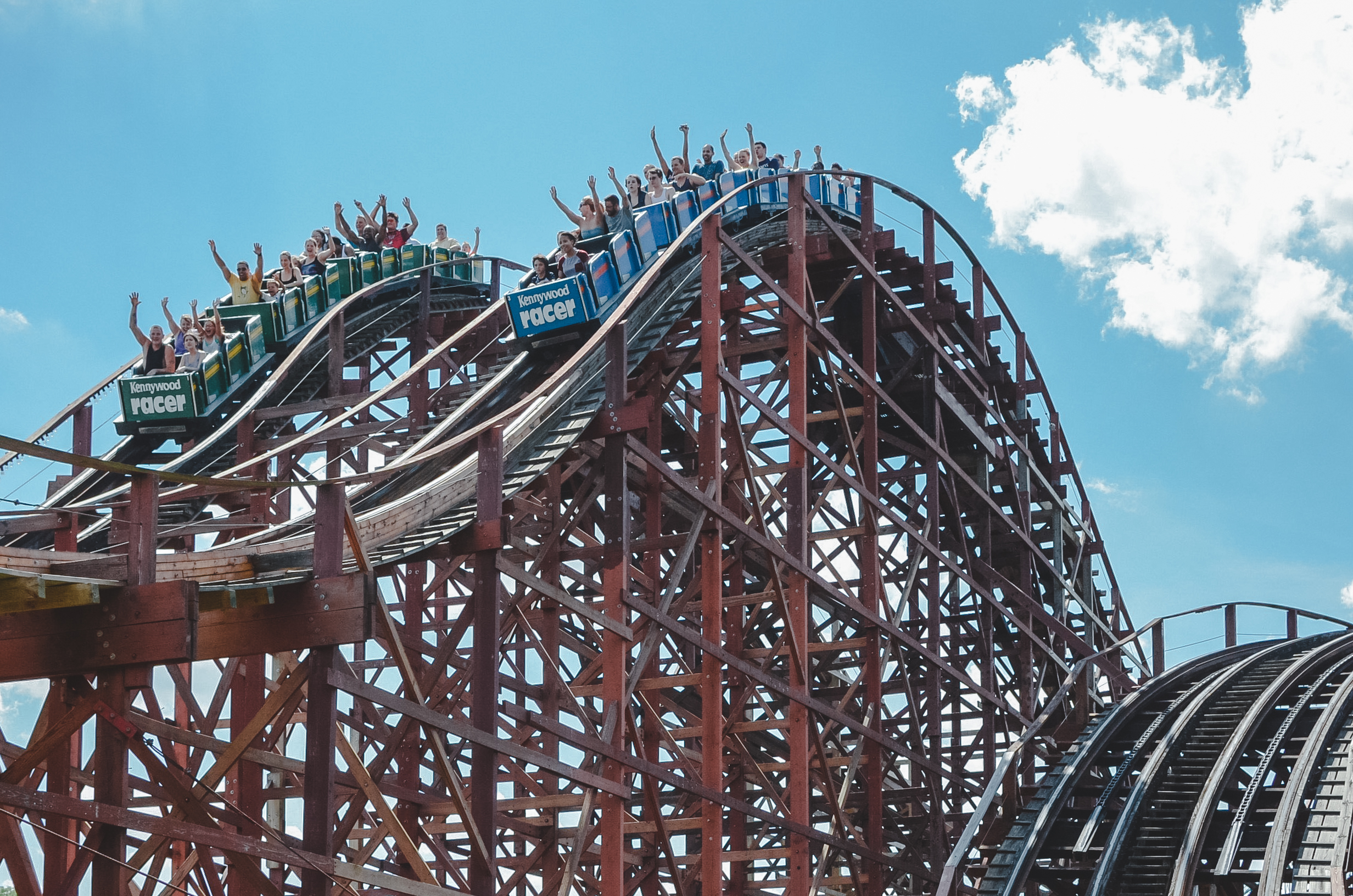 Kennywood's vintage Racer still rocks the coaster scene.