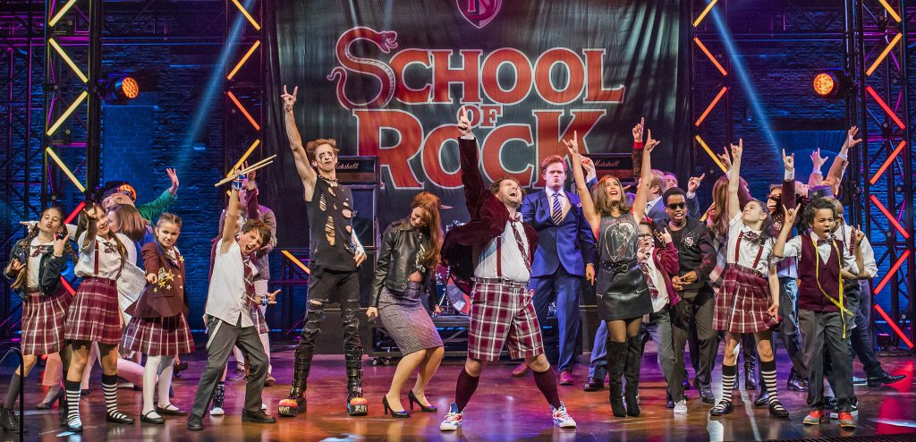 A scene from School Of Rock at New London Theatre. School of Rock original London Cast. Photo by Tristram Kenton.