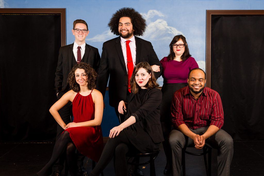 This Second City ensemble is relaxing and posing but they will be in motion for 'Made in America: Some Assembly Required.'