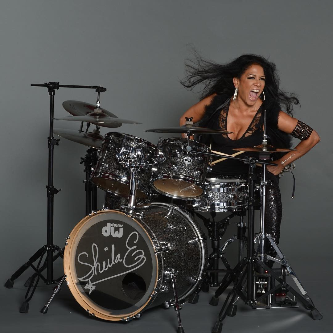 Sheila E. in action on the kit.