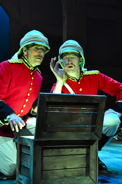 Major Ross (Ken Bolden) and Captain St. Claire (Jonathan Visser) seek their future in a stolen chest of jewels, which they will learn is a terrible futures market.