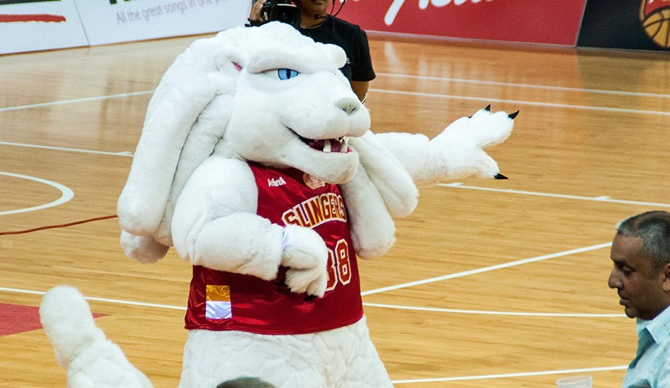 That's no rabbit; it's the Merlion (mermaid + lion) mascot of the pro Singapore Slingers of the ASEAN Basketball League.