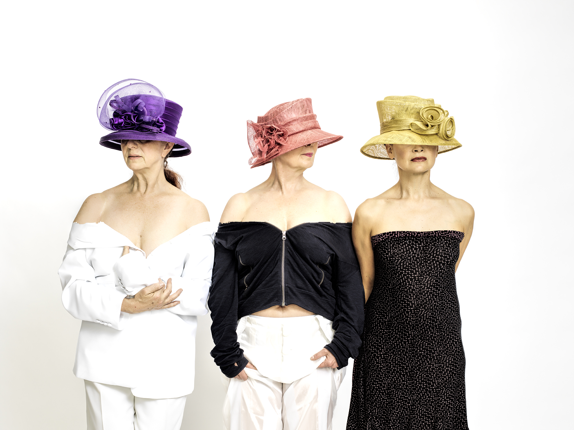 Women in Hats is how Corningworks describes this photo from their 'Six A Breast' production. photo: Frank Walsh.