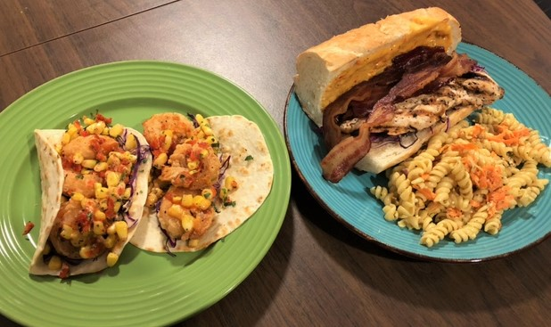 Shrimp po boy tacos and a bbq chicken sandwich with pasta salad are just two of The Smiling Moose's offerings.
