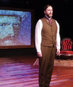 "James Briggs, as Theo Van Gogh, stands up for his brother in ""Vincent."""