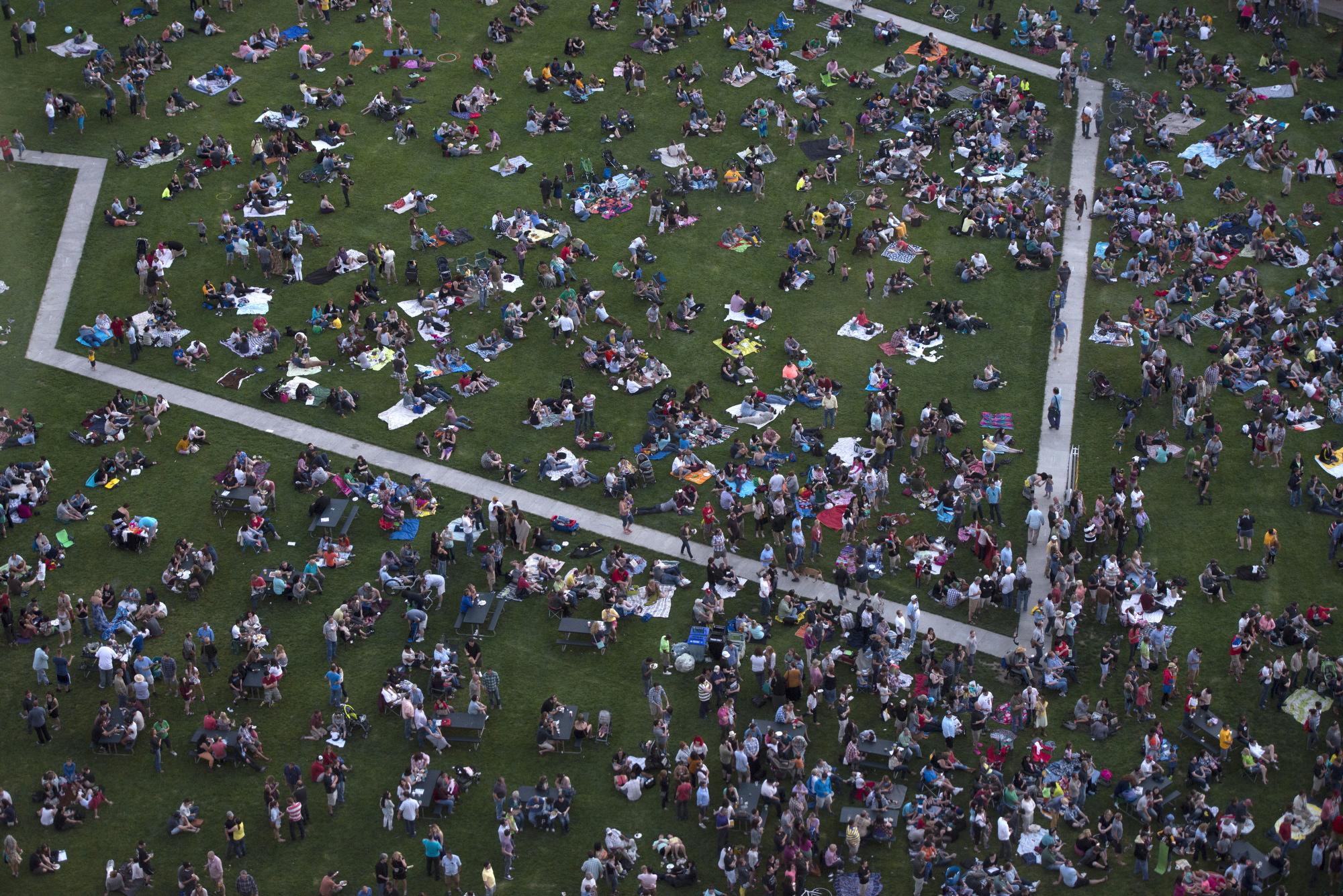 Looking down on the music bastion as Point State Park fills up with families and music fans on opening night of Three Rivers Arts Festival.