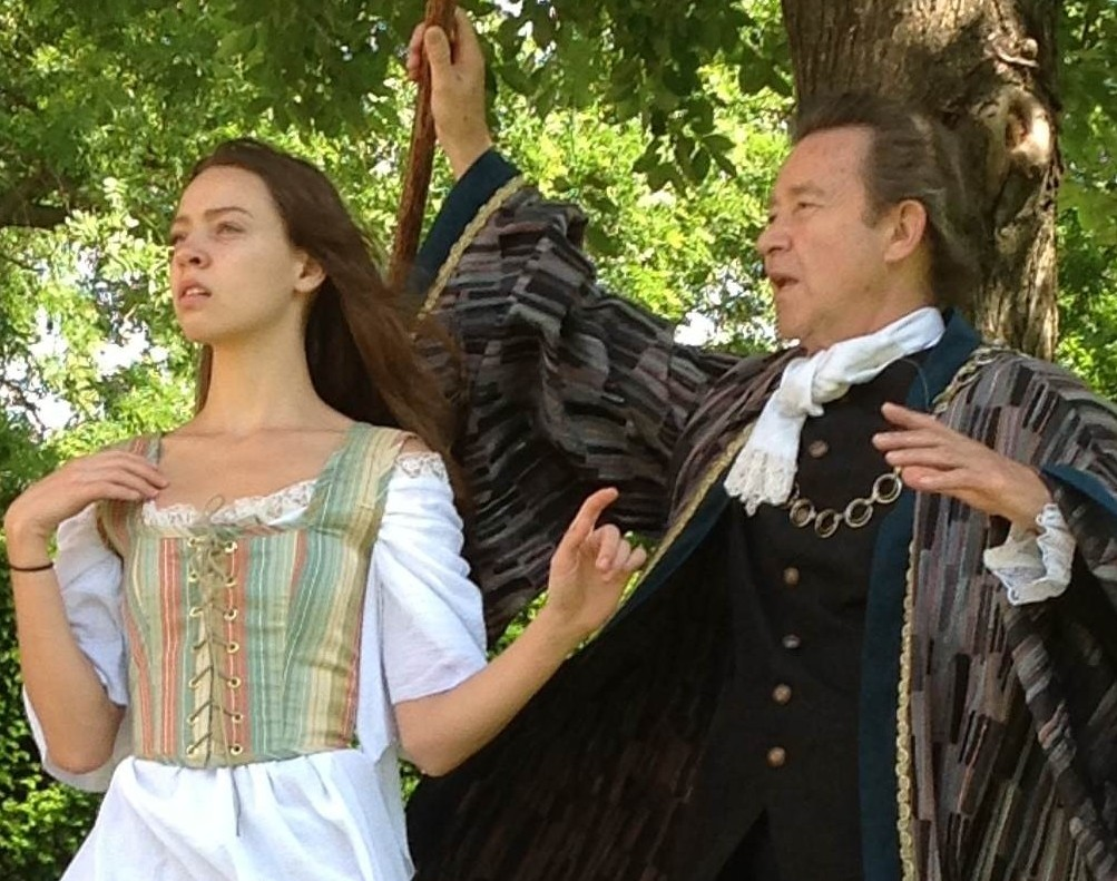 "Serious business? Not here. It's Miranda (Colleen Pulawski) espying a MAN, while father Prospero (Ron Siebert) casts a spell, in a play that's ""Restoration comedy with overtones of Monty Python and Blackadder."""