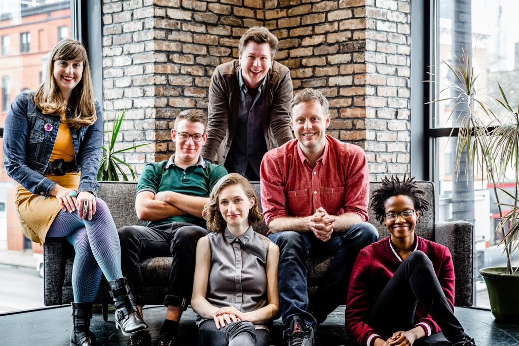 The cast of The Second City's Summer Blockbuster (l. to r.) Eve Krueger, Danny Catlow, Greg Ott, Adam Archer, Lauren Walker, and Alison Gates.