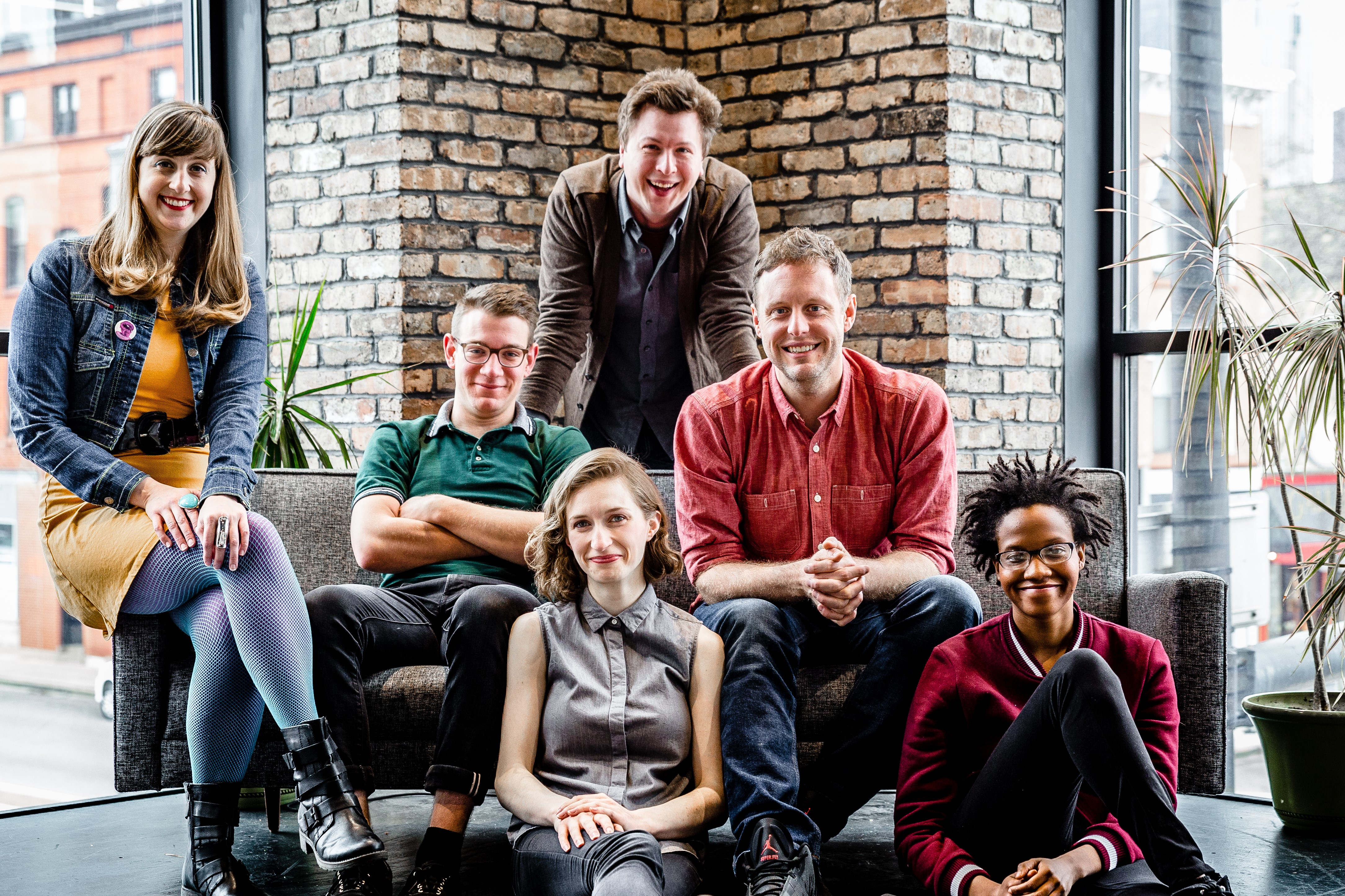 The cast of The Second City's Summer Blockbuster (l. to r.) Eve Krueger, Danny Catlow, Greg Ott, Adam Archer, Lauren Walker, and Alison Gates.