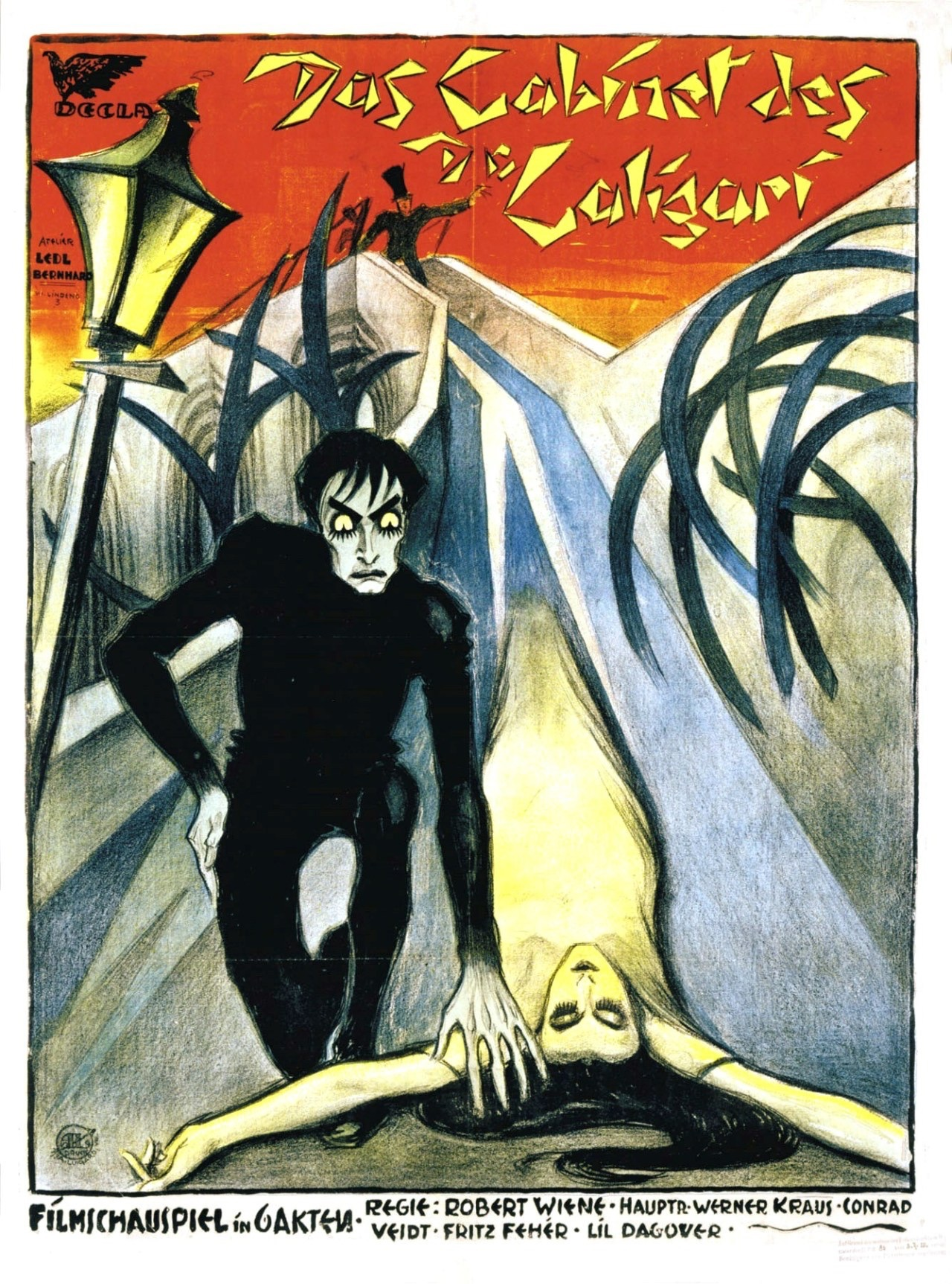 Stay healthy while watching movies at home. 'The Cabinet of Dr. Caligari,' a classic 1920 silent shocker, is among the good ones FREE online. (image: original movie poster)