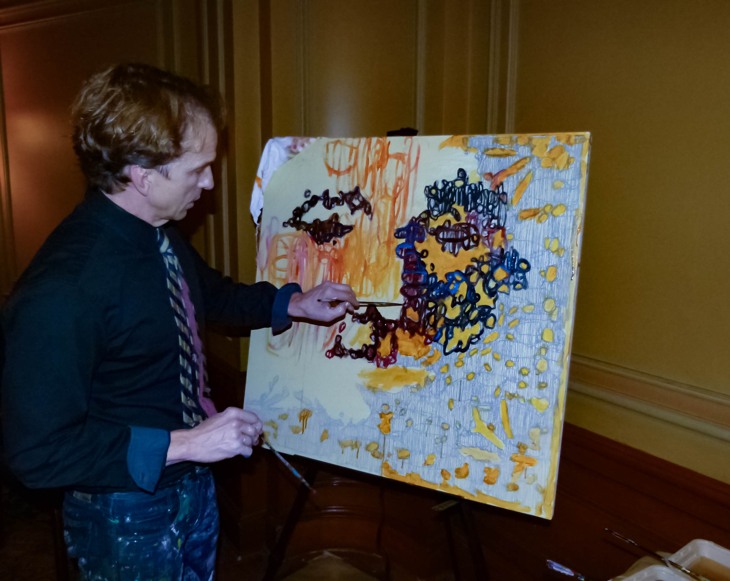 Pittsburgh artist Tom Mosser created a painting using regular paint and different kinds of Hershey's Syrup.