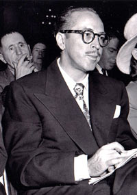 Colorado screenwriter and novelist Dalton Trumbo at House Un-American Activities Committee hearings, 1947