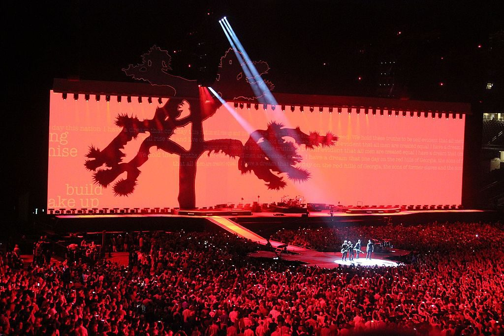 U2 performing on The Joshua Tree 2017 Tour in May at AT&T Stadium in Arlington, Texas. photo: Francois Mulder and Wikipedia.