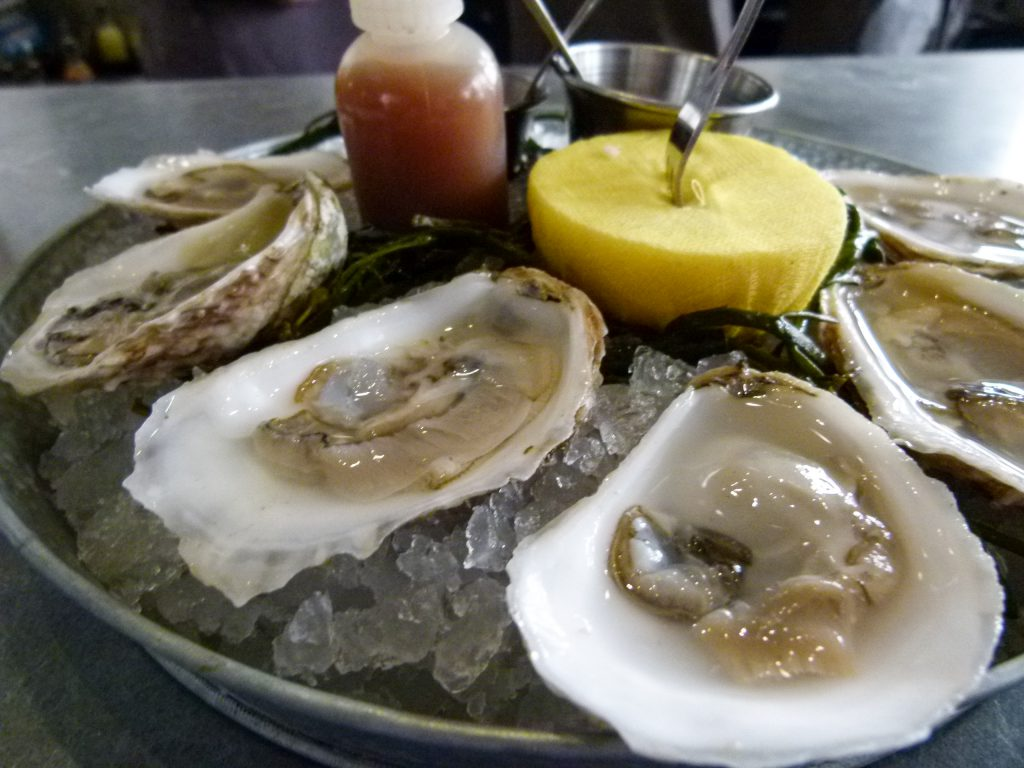 Oysters on the half shell from the raw bar.