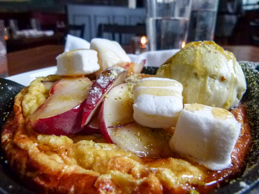 Vanilla Dutch baby dessert.