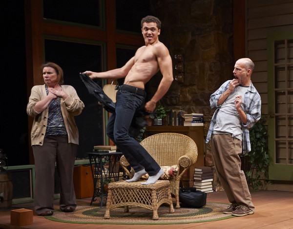 Take that, you intellectual Russophiles!  Spike (Karl Glusman) does the un-Chekhovian loose booty for Sonia (Sheila McKenna) and Vanya (Harry Bouvy).