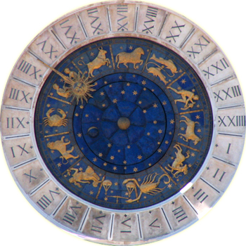 An astrological clock in Venice, Italy. (photo: Zachariel and Wikipedia)