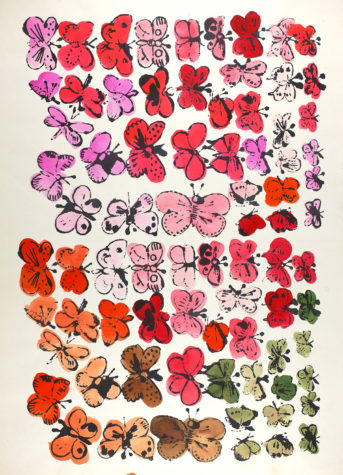Offset lithograph and watercolor on paper. Andy Warhol, Happy Butterfly Day, 1955, The Andy Warhol Museum, Pittsburgh, © The Andy Warhol Foundation for the Visual Arts, Inc.