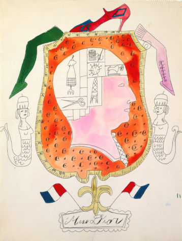 "This sketch would become a storefront window display for Bonwit Teller. Ballpoint pen and watercolor on laid paper. Andy Warhol, ""Miss Dior"", ca. 1955, The Andy Warhol Museum, Pittsburgh, © The Andy Warhol Foundation for the Visual Arts, Inc."