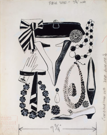 Warhol knew it was important to accessorize in this ink on Strathmore paper illustration. Andy Warhol, Multiple Fashion Accessories, 1950s, The Andy Warhol Museum, Pittsburgh, © The Andy Warhol Foundation for the Visual Arts, Inc.