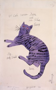 "Cover sketch for Warhol's self-published book ""25 Cats Name Sam and One Blue Pussy."" While building his career in the 1950s he gave copies of the book to friends and influential people.  (Image © Andy Warhol Foundation)"