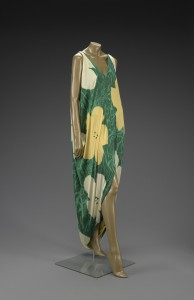 This evening dress by Halston incorporates the design motif from Warhol's flower paintings. (Image courtesy Indianapolis Museum of Art)