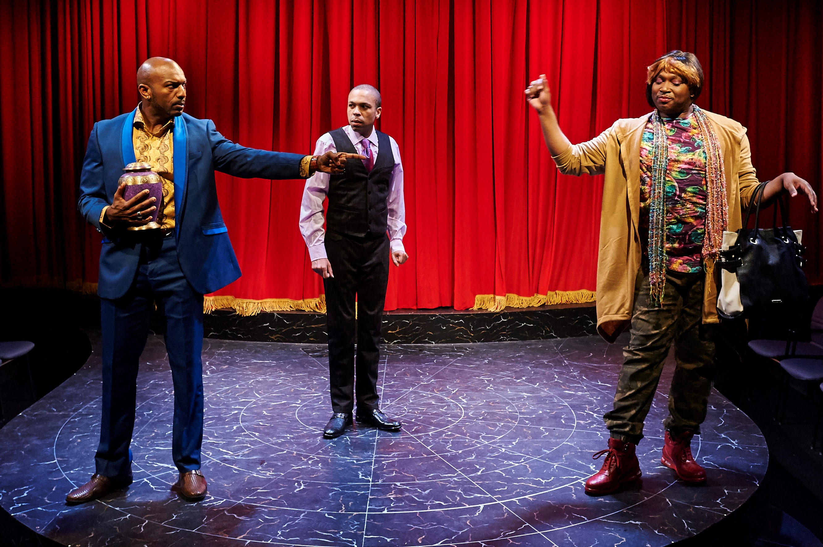 A scene from City Theatre's 'Wild with Happy' with Corey Jones as Gil, Jason Shavers as Terry, Monteze, and Freeland as Mo. photos: Kristi Jan Hoover