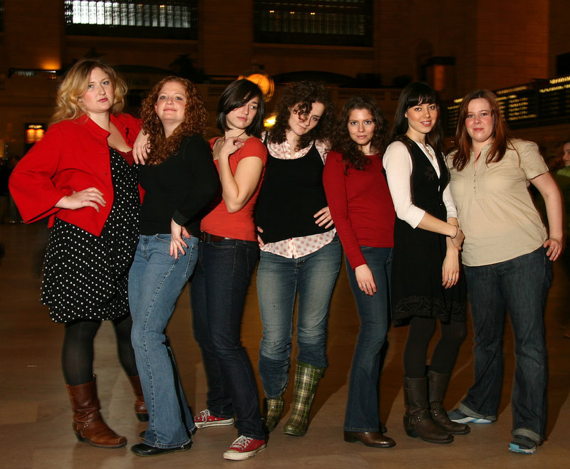 New-York based improv troupe Bombardo, featuring Aubrey Plaza (second from right).