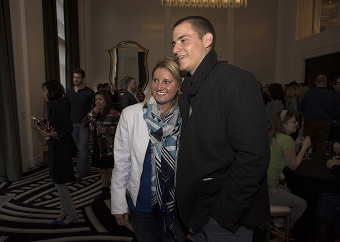 That's superfan Jenna Maine with Chris Jamison during a meet-and-greet at Hotel Monaco.