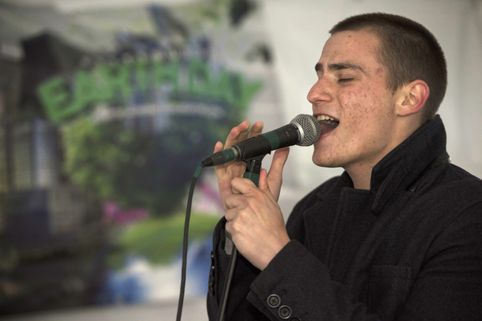 "Pop singer Chris Jamison of Ross Township rocks the Maroon 5 hit ""Sunday Morning"" at Mellon Square."