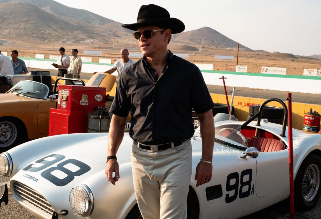 Matt Damon as racing legend and race car designer Carrol Shelby with his Cobra before a race at Willow Springs in California.