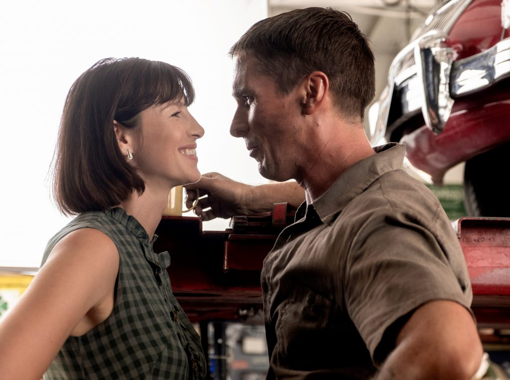 Caitriona Balfe and Christian Bale are Mr. and Mrs. Ken Miles in 'Ford v Ferrari.'