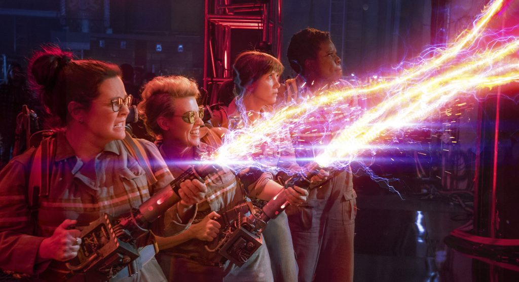 The Ghostbusters Abby (Melissa McCarthy), Holtzmann (Kate McKinnon), Erin (Kristen Wiig) and Patty (Leslie Jones) 'ain't afraid of no ghost' in Columbia Pictures' 'Ghostbusters.'