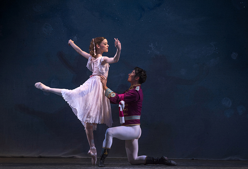 Marie dances with the Nutcracker (Ruslan Mukhambetkaliyev) after he is transformed into a handsome prince.